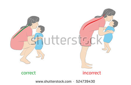 stock-vector-correct-and-incorrect-posture-when-lifting-the-child-vector-illustration-524739430